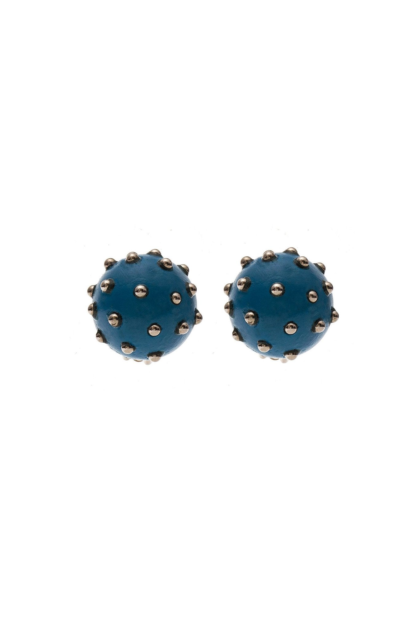 Blue Wood Ball Earrings