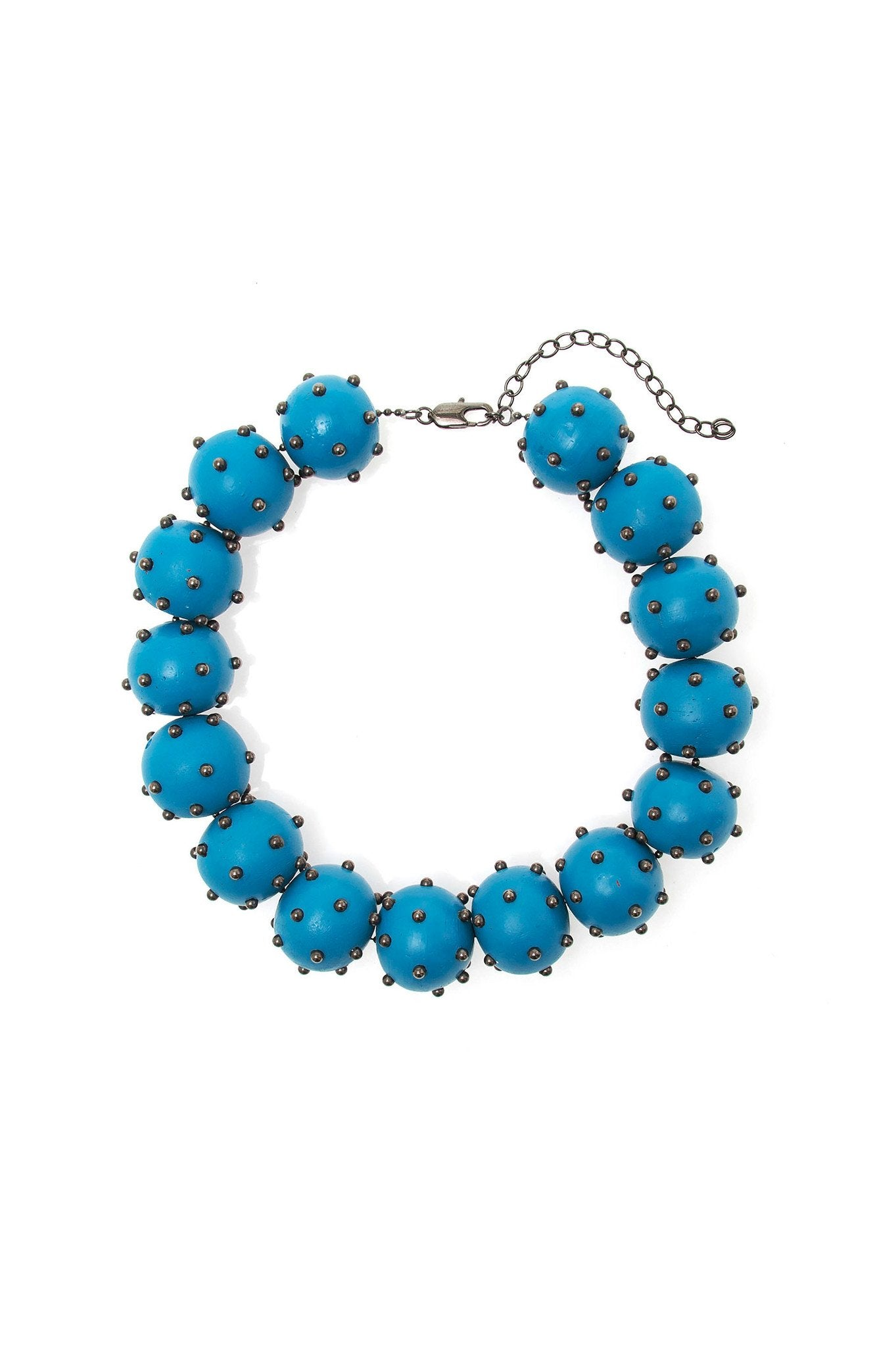 BLUE WOOD BALL CHOKER
