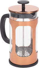 Bronze Tone 1 Liter Large Glass and Stainless Steel French Press Coffee and Loose Leaf Tea Maker