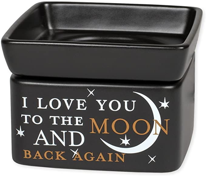 "Black 2-in-1 warmer with sentiment, ""I love you to the moon and back"""