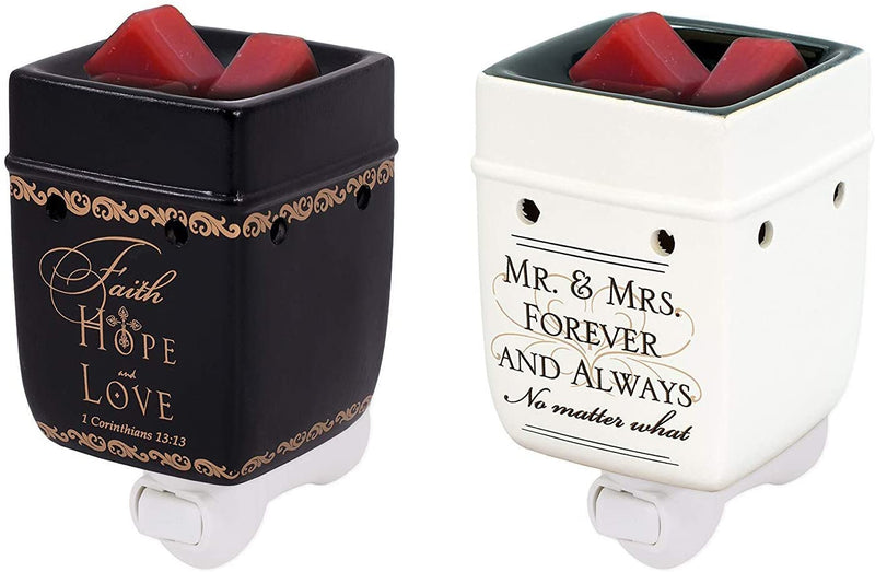 2 Pc Set Faith Hope Love Mr Mrs Plug-in Wax Tart Oil Candle Warmer