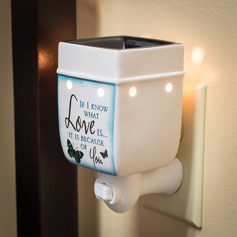 Love You Blue Butterfly Ceramic Stoneware Electric Plug-in Outlet Wax and Oil Warmer