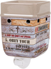 Ten Commandments Pallet Wood Look Ceramic Electric Ceramic Stoneware Plug-in Warmer