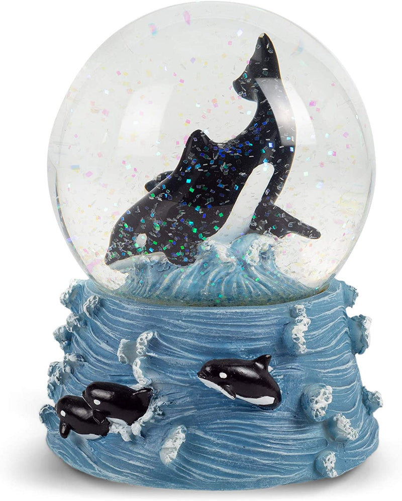 Elanze Designs Killer Whales Swimming in The Ocean Glass Musical Snow Globe Plays Song Over The Waves