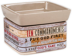 Ten Commandments Pallet Wood Look Ceramic Stone 2-in-1 Jar Candle and Wax Tart Oil Warmer