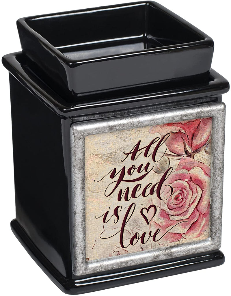 All You Need is Love Ceramic Glossy Black Interchangeable Photo Frame Candle Wax Oil Warmer