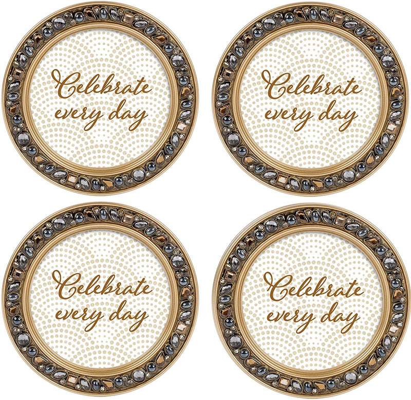 Celebrate Every Day Amber Goldtone 4.5 Inch Jeweled Coaster Set of 4