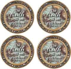 The Truth Sets You Free Amber Goldtone 4.5 Inch Jeweled Coaster Set of 4