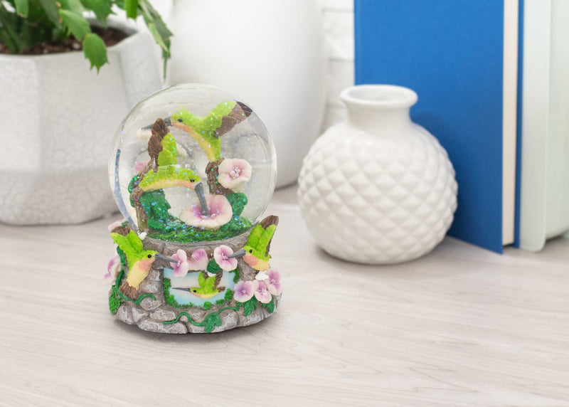 Hummingbirds with Flowers Figurine 150MM Water Globe Plays Tune You Light Up My Life