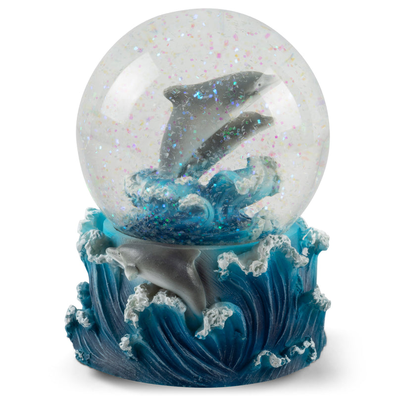Playful Dolphins Figurine 100MM Water Globe Plays Tune Blue Daube Waltz