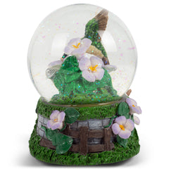 Hummingbirds Purple Flowers Garden 100MM Music Water Globe Plays Tune A Few of My Favorite Things