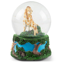 Giraffes Zebras and Elephants 100MM Music Water Globe Plays Tune Born Free