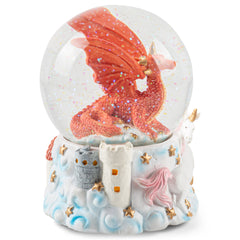 Red Dragon with Unicorn Figurine 100MM Water Globe Plays Tune Jupiter Opus No. 4