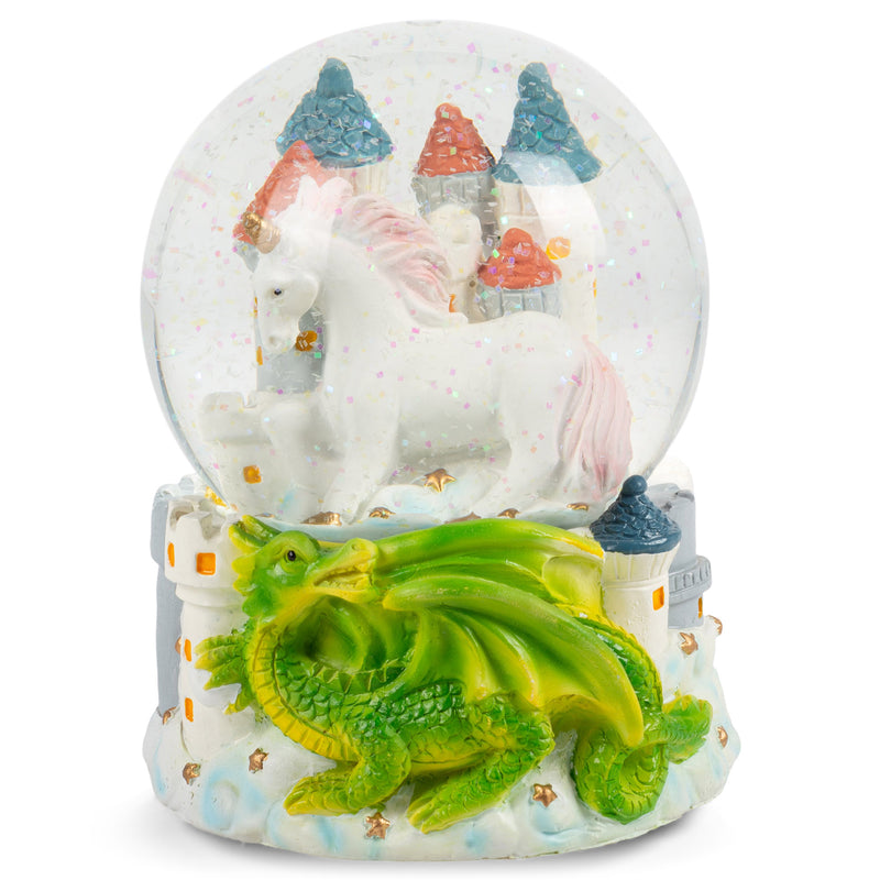 Castle Unicorn with Green Dragon Figurine 100MM Water Globe Plays Tune You Are My Sunshine