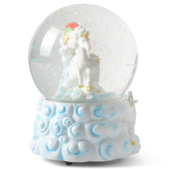 Rainbow Unicorns 100MM Resin Glitter Water Globe Plays Tune You Are My Sunshine