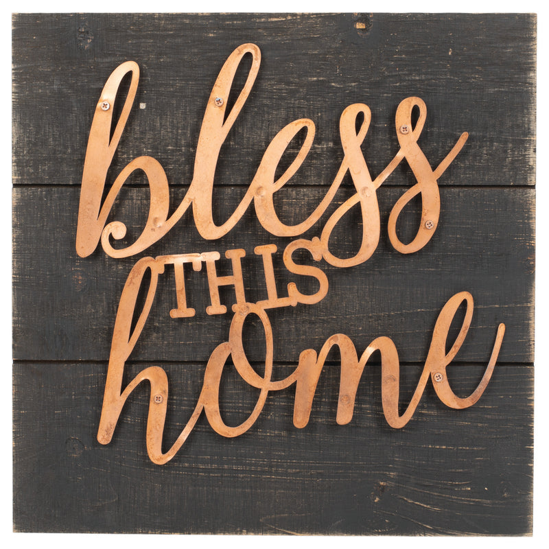 Bless This Home Dark Wood Grain 14 x 14 Copper Inspirational Wall Art Plaque