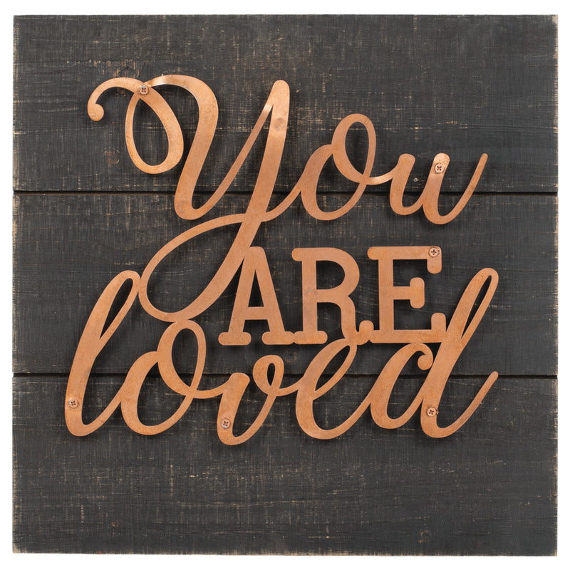 You Are Loved Dark Wood Grain 14 x 14 Copper Inspirational Wall Art Plaque