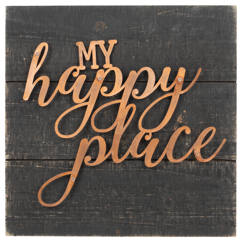 My Happy Place Dark Wood Grain 14 x 14 Copper Inspirational Wall Art Plaque