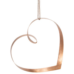 Large Hand Twisted Mobius 10.5 x 10 Copper Heart Accessory with Hanging Chain Loop