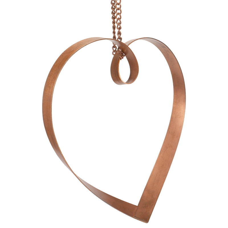 Small Hand Twisted Mobius 7.75 x 6.5 Copper Heart Accessory with Hanging Chain Loop