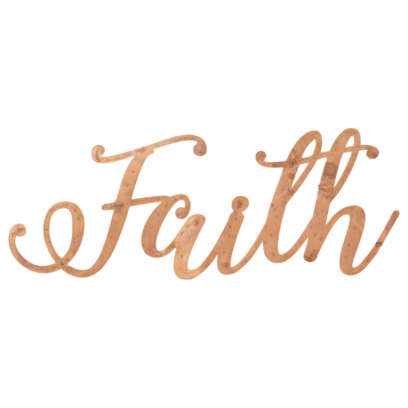 Faith Copper Finish 16 x 5.5 Hand-Twisted Inspirational Wall Art