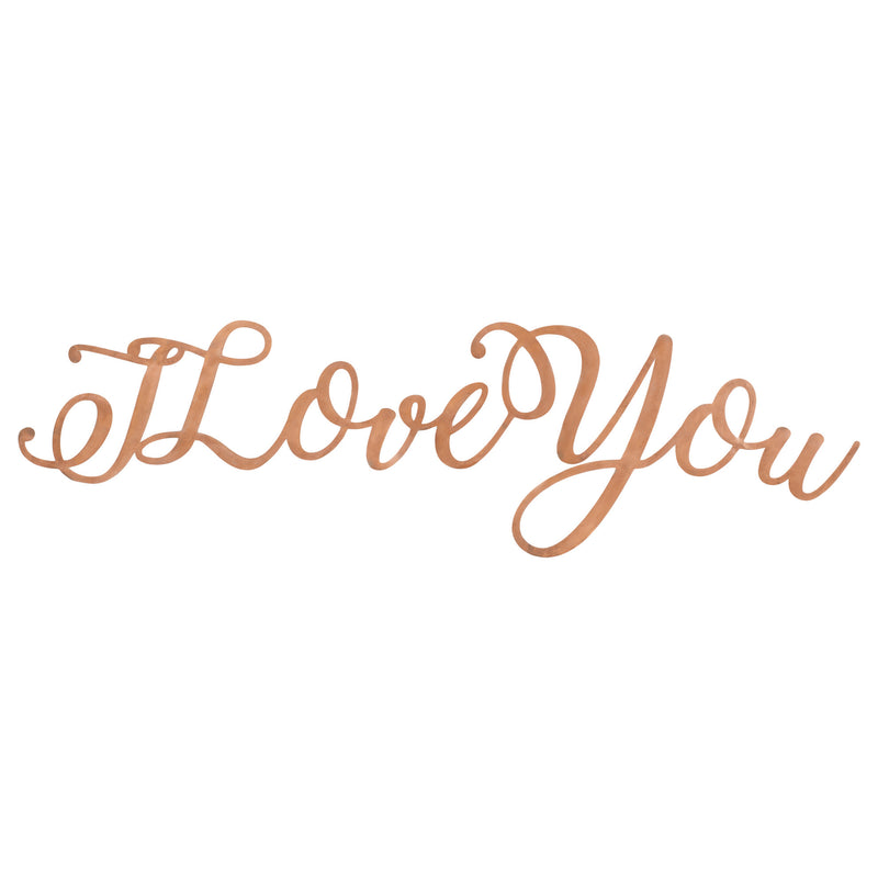 I Love You Copper Finish 29.5 x 5.5 Hand-Twisted Inspirational Wall Art