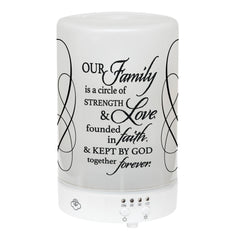 Our Family Circle Strength Love Faith Frosted Glass 8 Color LED Light Essential Oil Diffuser