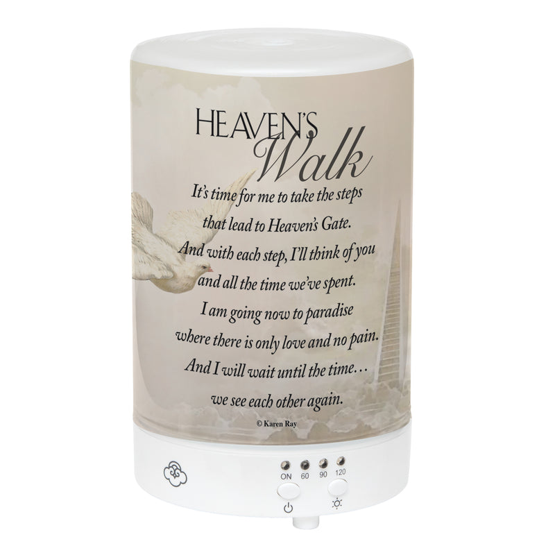 Heaven's Walk Bereavement Poem Frosted Glass 8 Color LED Light Essential Oil Diffuser