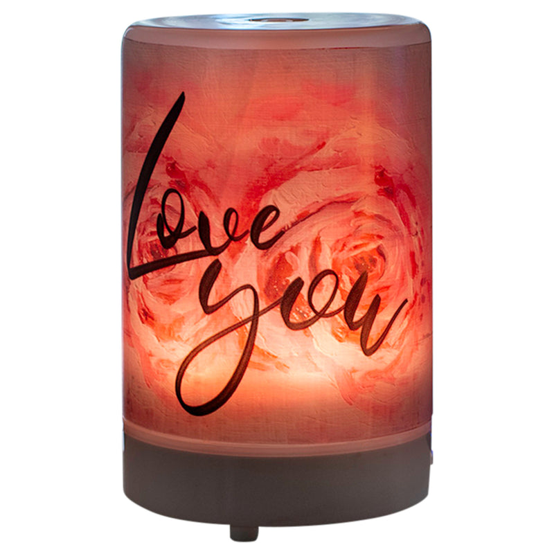 Love You 8 Colored LED Light 5.75 x 3.5 Frosted Glass Essential Oil Diffuser