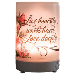 Live Work Love 8 Colored LED Light 5.75 x 3.5 Frosted Glass Essential Oil Diffuser