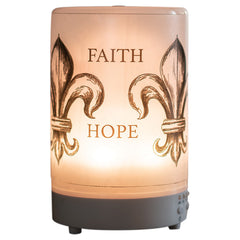 Faith Hope Love Peace Inspirational 8 Colored LED Light 5.75 x 3.5 Frosted Glass Essential Oil Diffuser