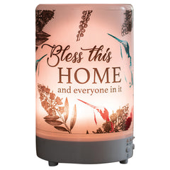 Bless This Home Inspirational 8 Colored LED Light 5.75 x 3.5 Frosted Glass Essential Oil Diffuser