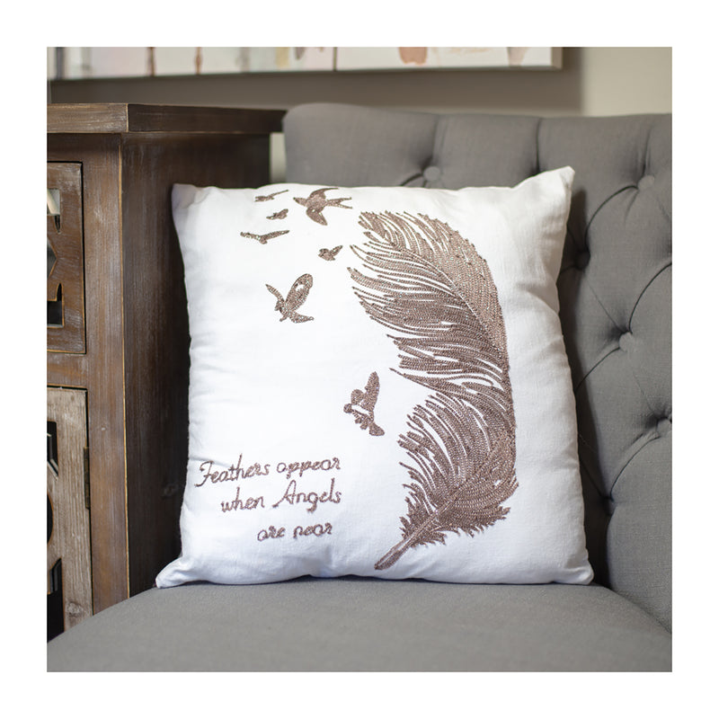 "Throw pillow with message ""feathers appear when angels are near"""