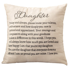 Daughter Ivory Toned Velvet Embroidered 18 x 18 Ultra Squeezable Soft Throw Pillow