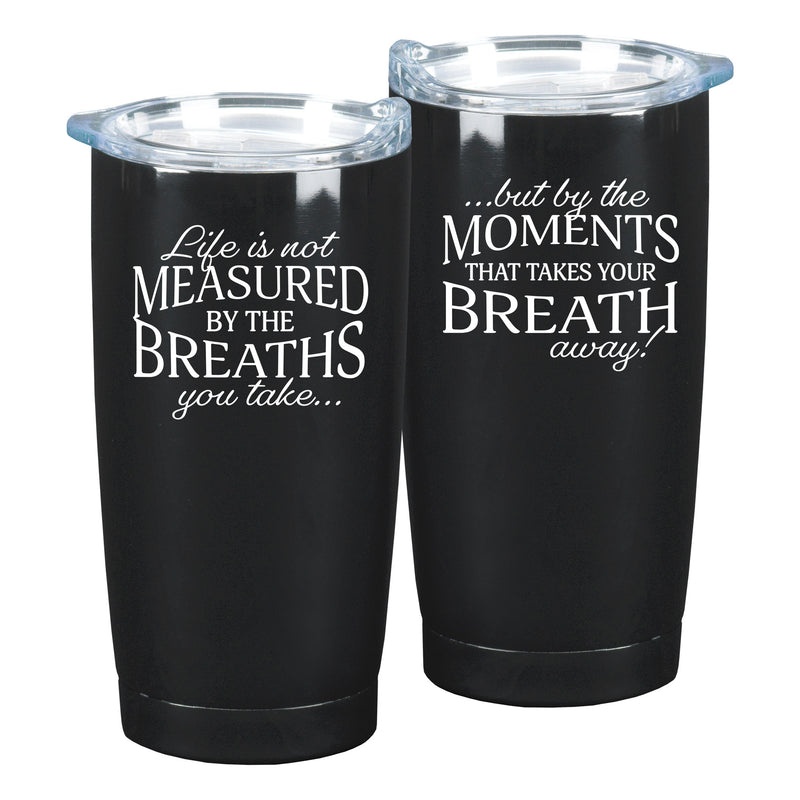 That Takes Your Breath Away Black 10 x 3 x 3 Stainless Steel 20 Ounce Travel Mug With Lid