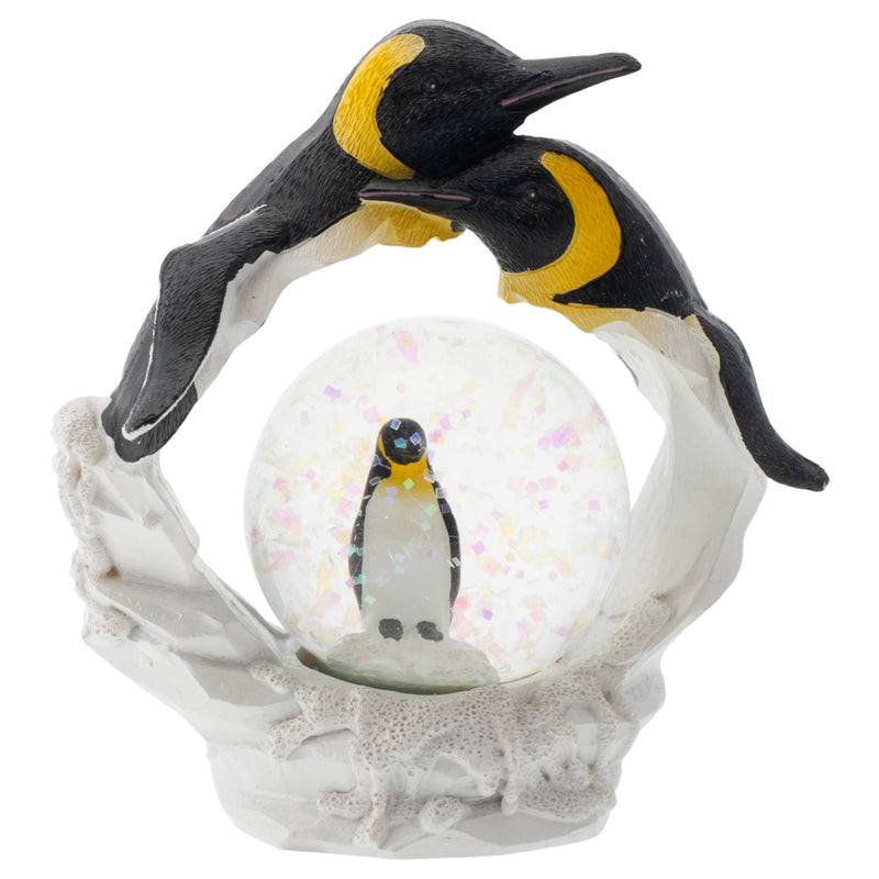 Yellow Neck Penguin Family Figurine 45MM Glitter Water Globe Decoration