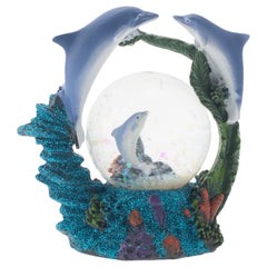 Swimming Dolphin Family Figurine 45MM Glitter Water Globe Decoration