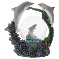 Coral Reef Dolphin Family Figurine 45MM Glitter Water Globe Decoration