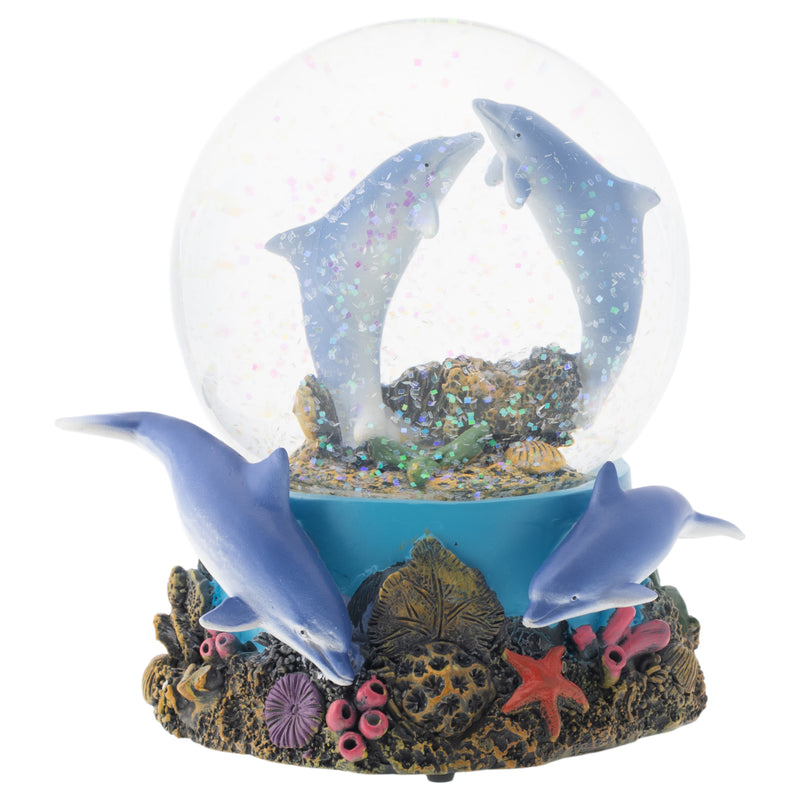 Coral Reef Dolphin Pod 100MM Musical Water Globe Plays Tune Fur Elise