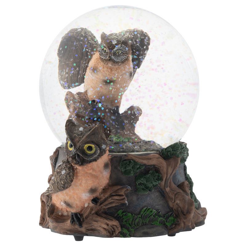 Red Bellied Eagle Owls 100MM Musical Water Globe Plays Tune Wonderful World
