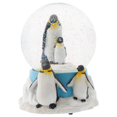 King Penguin Family 100MM Musical Water Globe Plays Tune Wonderful World