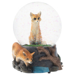 Clever Fox Friends 100MM Musical Water Globe Plays Tune Born Free