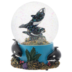 Coral Reef Orca Pod 100MM Musical Water Globe Plays Tune Wonderful World