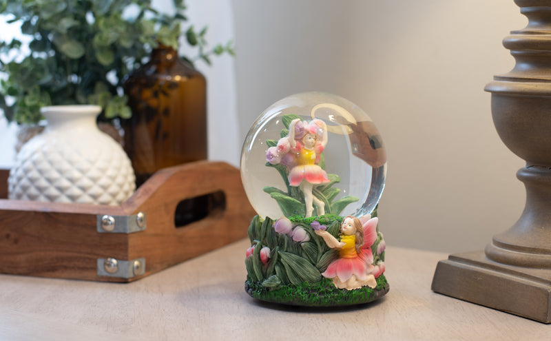 Bell Flower Fairy Friends 100MM Musical Water Globe Plays Tune You Are My Sunshine