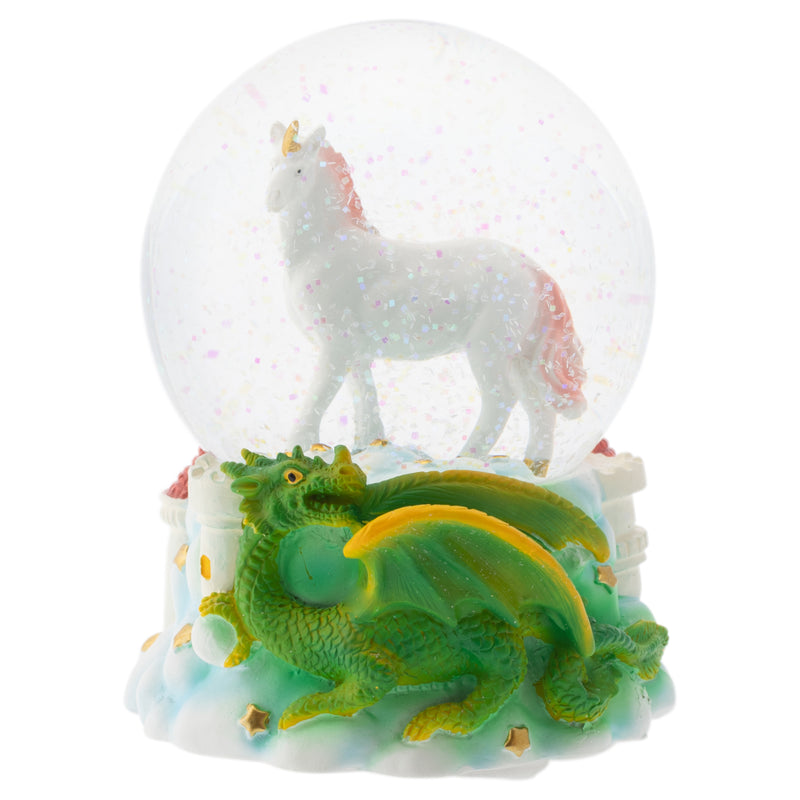 Majestic Unicorn and Dragon 100MM Musical Water Globe Plays Tune You Are My Sunshine