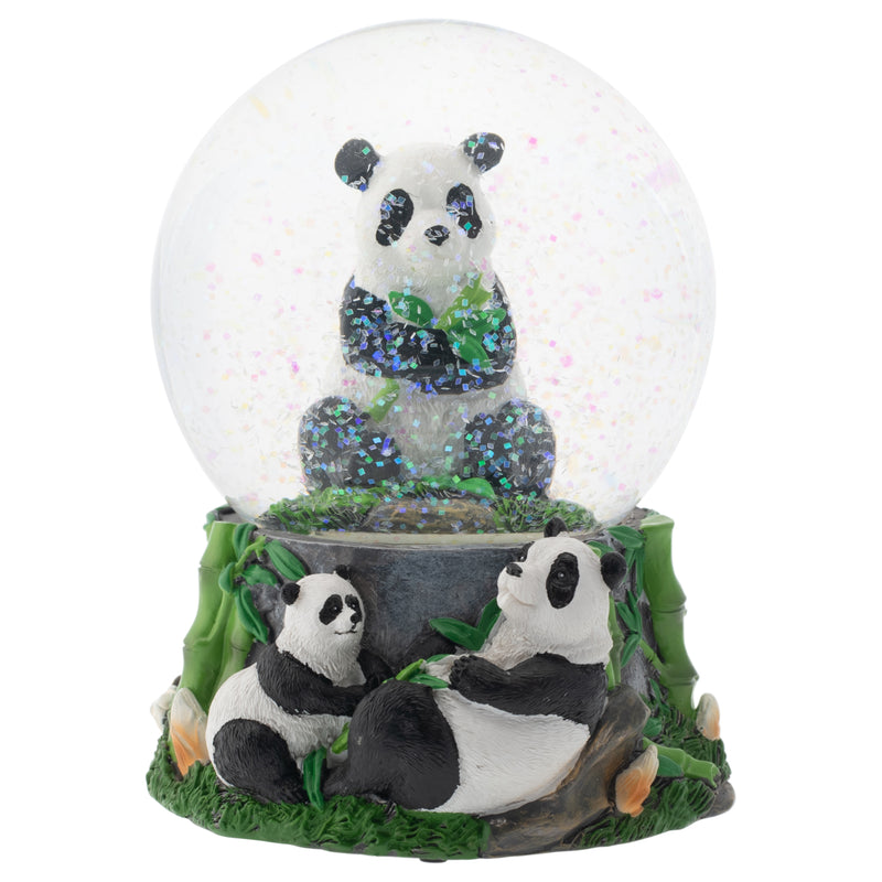 Hugging Panda Bear Family 100MM Musical Water Globe Plays Tune Born Free