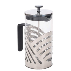 Chrome 1 Liter Large Glass and Stainless Steel French Press Coffee and Loose Leaf Tea Maker