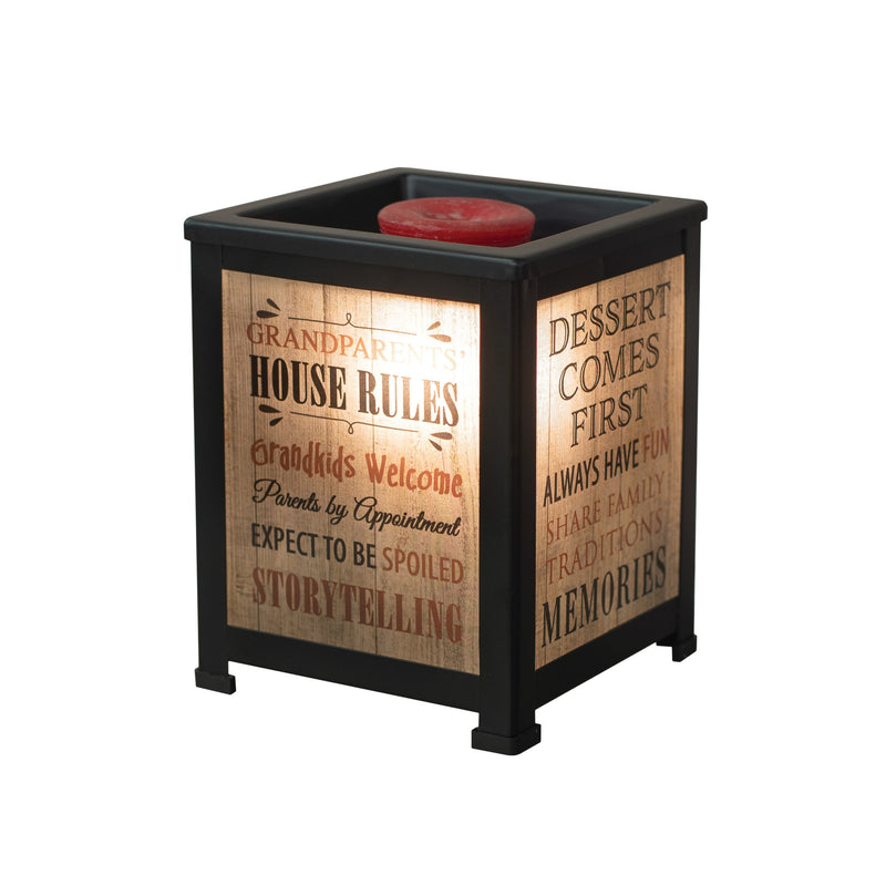 Grandparents House Rules Memories Black Metal Electrical Wax Tart & Oil Glass Lantern Warmer