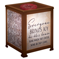 Everyone Brings Joy to this House Copper Metal Electrical Wax Tart & Oil Glass Lantern Warmer