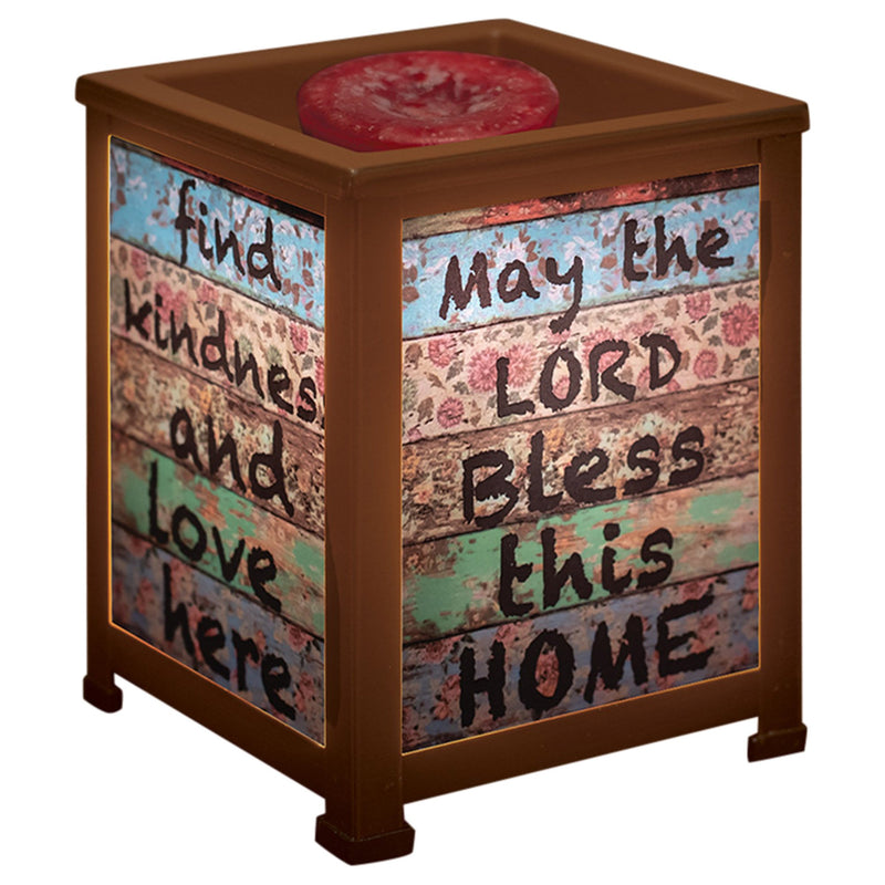 The Lord Bless This Home Inspirational Copper Metal Electrical Wax Tart & Oil Glass Lantern Warmer